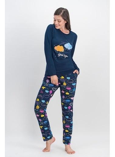 Arnetta Arnetta Rainbow Clouds Lacivert Kadın Pijama Takımı Lacivert